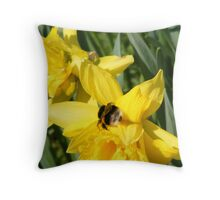 A Bumble Bee on a Daffodil Throw Pillow