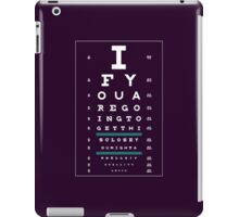 Hug Eye Chart (Clear back, white lettering) iPad Case/Skin