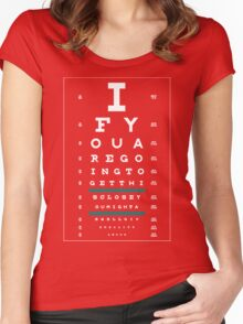 Hug Eye Chart (Clear back, white lettering) Women's Fitted Scoop T-Shirt