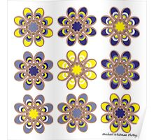 Yellow and Blue Foot Flowers Poster
