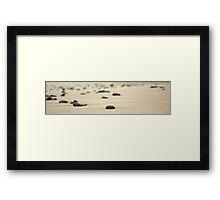 Rocks on sand Framed Print