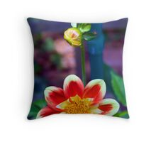 Dahlia with a hitchhiker Throw Pillow