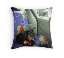 Buster For A Ride Throw Pillow