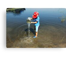 Best Fun Ever - Child Playing In Water Canvas Print