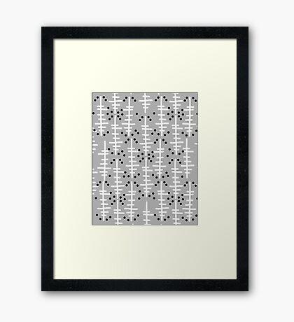 Helo - modern pattern design gift for college dorm decor trendy monochromatic grey neutral bold Framed Print