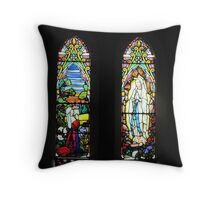 Bernadette and Our Lady of Lourdes Throw Pillow