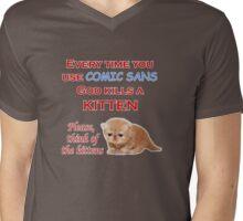 Comic Sans Kitten Mens V-Neck T-Shirt