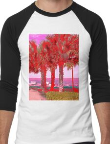 Palm Trees in Red Men's Baseball ¾ T-Shirt