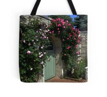 Green Garden Gate With Bench Tote Bag