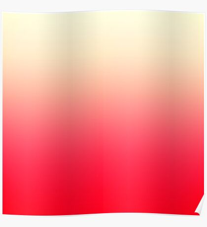 Trendy Neon Red to Vintage White Ombre Gradient Poster