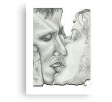 Kiss White Canvas Print