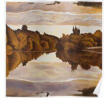 Sepia Mirror Lake Poster