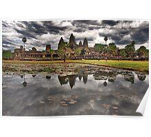 Dark clouds over Angkor Wat Poster