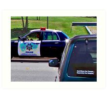 OFFICER TICKETING A LIMO DRIVER Art Print