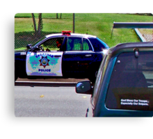 OFFICER TICKETING A LIMO DRIVER Canvas Print