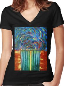 The Curtain of Mysteries Women's Fitted V-Neck T-Shirt