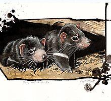 Baby devils in the den by SnakeArtist