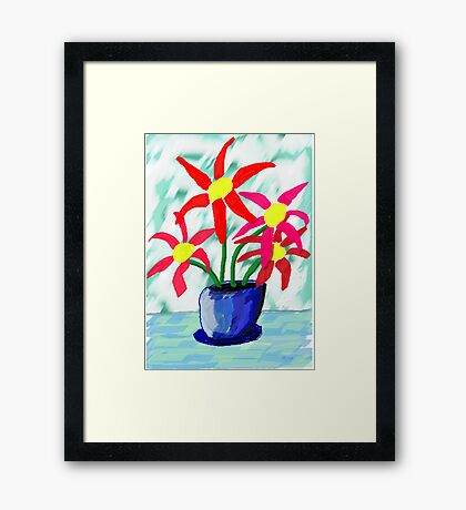 Primitive Vase & Flowers Framed Print