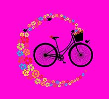 Colourful Floral Love Cycling Vintage Bike Design by CreativeTwins
