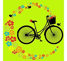 Colourful Floral Love Cycling Vintage Bike Design Photographic Print