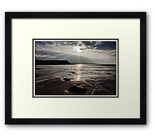 evening capture of my number 1 beach in county clare, lahinch  beach , lehinch, county clare, ireland. cliffs of moher in the very far distance. ireland. Framed Print