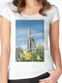 Dutch windmill and narcissus Women's Fitted Scoop T-Shirt
