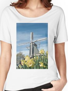 Dutch windmill and narcissus Women's Relaxed Fit T-Shirt
