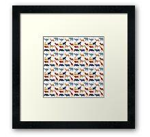 Vintage orange gray safari animal pattern Framed Print