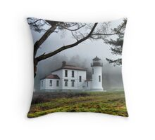 Lighthouse in the Fog Variation Throw Pillow
