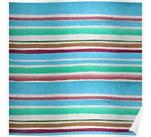 Vintage teal maroon fabric texture stripes pattern Poster