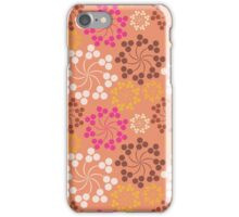 Vintage pink orange retro floral pattern iPhone Case/Skin