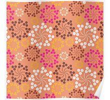 Vintage pink orange retro floral pattern Poster