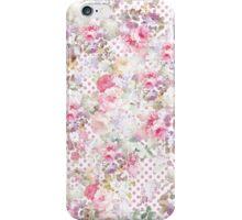 Vintage pastel pink floral pink polka dots pattern iPhone Case/Skin
