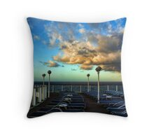 Deck Chairs and Clouds Throw Pillow