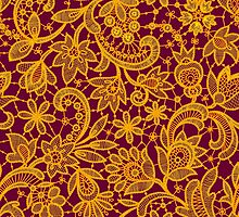 Gold lace on red background. Seamless pattern. by Laces