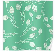 Vintage mint green white abstract floral pattern Poster