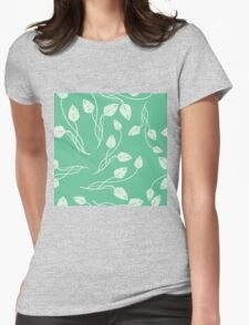 Vintage mint green white abstract floral pattern Womens Fitted T-Shirt