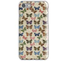 Vintage jute pink blue cute butterflies pattern iPhone Case/Skin