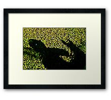 child and dog shadow play Framed Print