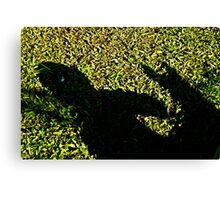 child and dog shadow play Canvas Print