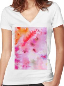 Colourful brusho print Women's Fitted V-Neck T-Shirt