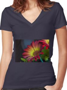 Red Yellow Flower Women's Fitted V-Neck T-Shirt