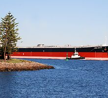 Coal ship Coral Emerald - Port of Newcastle NSW by Phil Woodman
