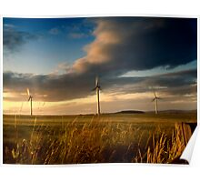wind Turbine sunset Poster