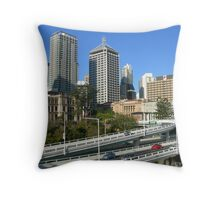 Freeway beside the city Throw Pillow