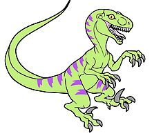 Vintage style neon green velociraptor by nyctherion