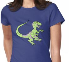 Vintage style neon green velociraptor Womens Fitted T-Shirt