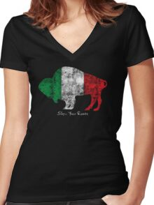 Buffalo Roots - Italian Women's Fitted V-Neck T-Shirt
