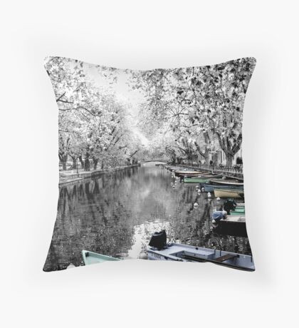 Boats at Annecy, France Throw Pillow