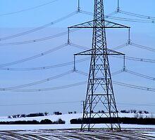 Electricity Pylon - Snowy Field by Hazera Forth